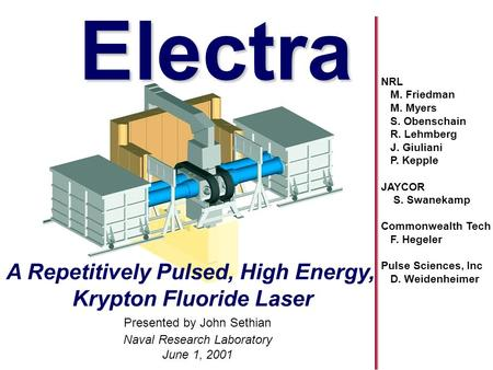 Naval Research Laboratory June 1, 2001 Electra title page A Repetitively Pulsed, High Energy, Krypton Fluoride Laser Electra Presented by John Sethian.
