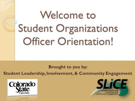 Welcome to Student Organizations Officer Orientation! Brought to you by: Student Leadership, Involvement, & Community Engagement.