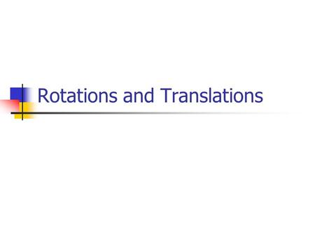 Rotations and Translations. Representing a Point 3D A tri-dimensional point A is a reference coordinate system here.