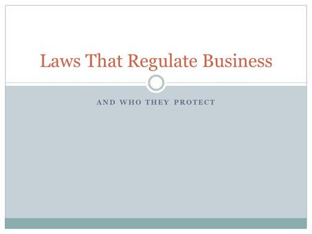 Laws That Regulate Business