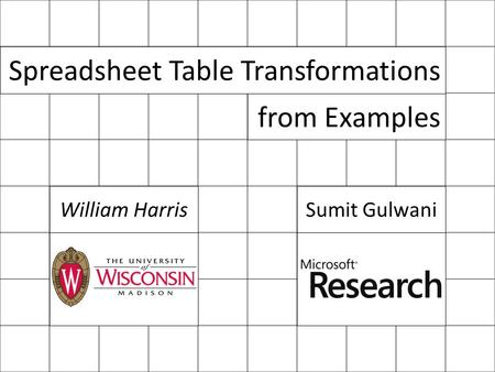 Spreadsheet Table Transformations from Examples William HarrisSumit Gulwani.