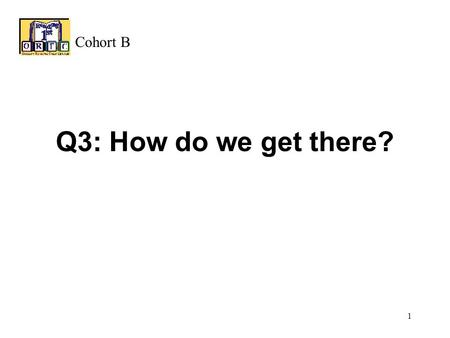 1 Q3: How do we get there? Cohort B 2 GOALS AND ASSESSMENT INSTRUCTIONAL PROGRAMS INSTRUCTIONAL TIME DIFFERENTIATED INSTRUCTION ADMINISTRATION/ ORGANIZATION.