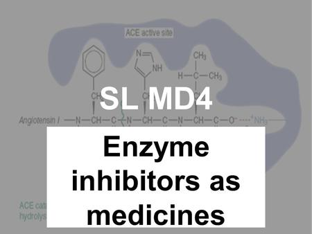 SL MD4 Enzyme inhibitors as medicines. A bit like the antagonists! Noradrenaline (neurotransmitter) Fits into receptor site Electrical impulse sent to.