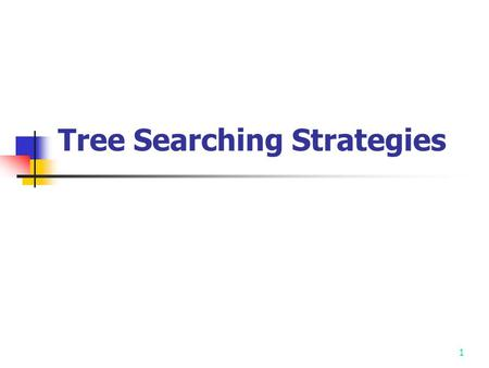 1 Tree Searching Strategies. 2 The procedure of solving many problems may be represented by trees. Therefore the solving of these problems becomes a tree.