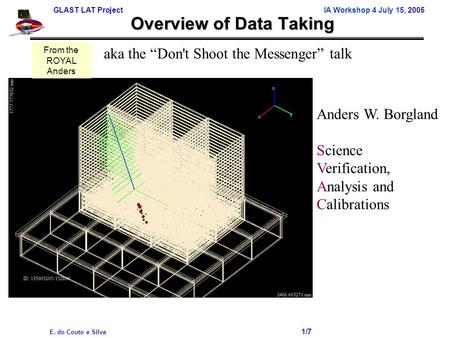 GLAST LAT Project IA Workshop 4 July 15, 2005 E. do Couto e Silva 1/7 Overview of Data Taking Anders W. Borgland Science Verification, Analysis and Calibrations.