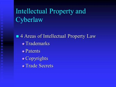 Intellectual Property and Cyberlaw 4 Areas of Intellectual Property Law 4 Areas of Intellectual Property Law  Trademarks  Patents  Copyrights  Trade.
