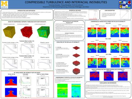 COMPRESSIBLE TURBULENCE AND INTERFACIAL INSTABILITIES Sreenivas Varadan, Pooya Movahed, Prof. Eric Johnsen Department of Mechanical Engineering, University.