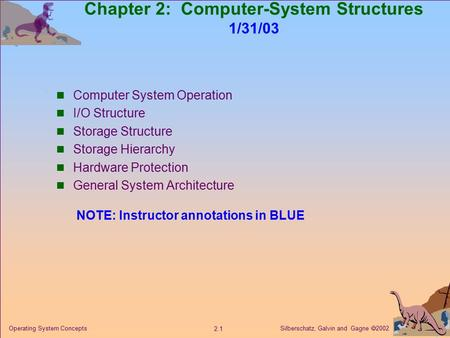 Silberschatz, Galvin and Gagne  2002 2.1 Operating System Concepts Chapter 2: Computer-System Structures 1/31/03 Computer System Operation I/O Structure.