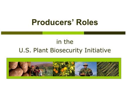 Producers' Roles in the U.S. Plant Biosecurity Initiative.