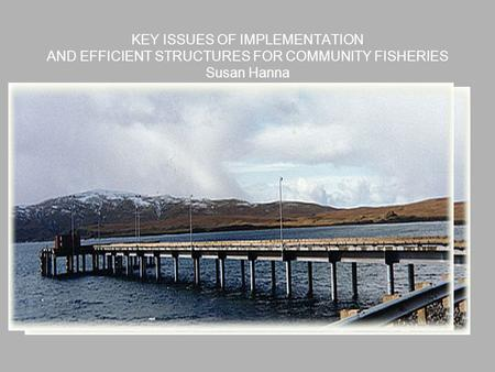 KEY ISSUES OF IMPLEMENTATION AND EFFICIENT STRUCTURES FOR COMMUNITY FISHERIES Susan Hanna.