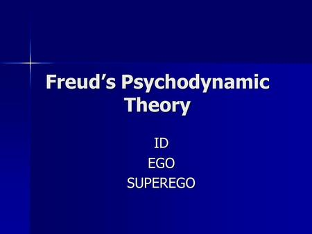 Freud's Psychodynamic Theory IDEGOSUPEREGO. Freud believed: Freud believed: Human personality arises from conflicts between the pleasure-seeking biological.