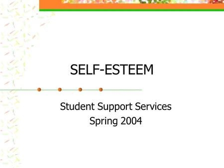 SELF-ESTEEM Student Support Services Spring 2004.