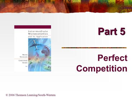 Part 5 © 2006 Thomson Learning/South-Western Perfect Competition.