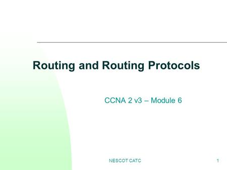NESCOT CATC1 Routing and Routing Protocols CCNA 2 v3 – Module 6.