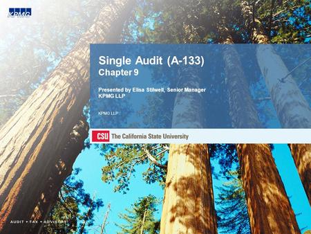 Single Audit (A-133) Chapter 9 Presented by Elisa Stilwell, Senior Manager KPMG LLP KPMG LLP.