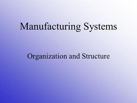 Manufacturing Systems Organization and Structure.