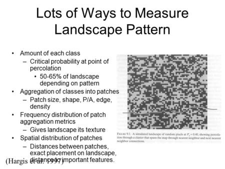 Lots of Ways to Measure Landscape Pattern (Hargis et al. 1997) Fig 9.1 here Amount of each class –Critical probability at point of percolation 50-65% of.