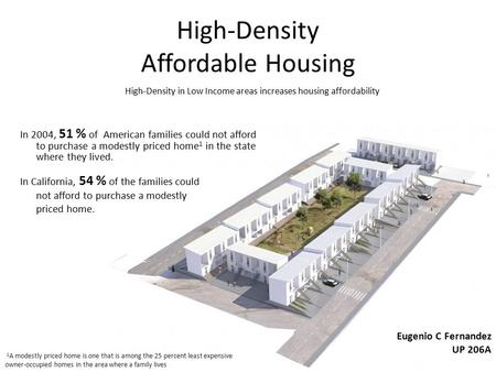 High-Density Affordable Housing In 2004, 51 % of American families could not afford to purchase a modestly priced home 1 in the state where they lived.