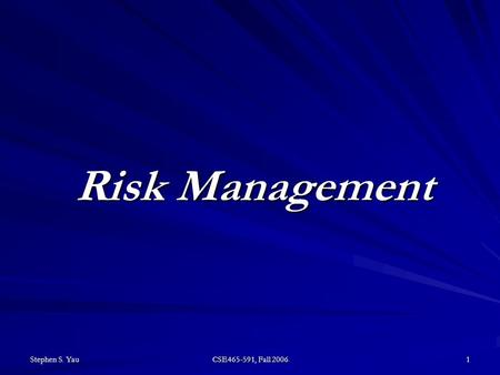 Stephen S. Yau CSE465-591, Fall 2006 1 Risk Management.
