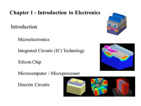 Chapter 1 - Introduction to Electronics Introduction Microelectronics Integrated Circuits (IC) Technology Silicon Chip Microcomputer / Microprocessor Discrete.