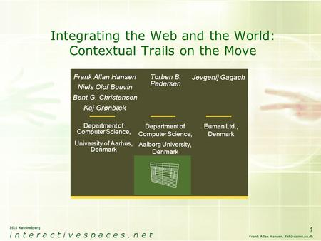 ISIS Katrinebjerg i n t e r a c t i v e s p a c e s. n e t 1 Frank Allan Hansen, Integrating the Web and the World: Contextual Trails on.