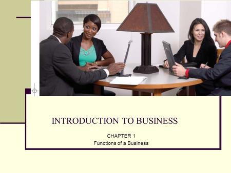INTRODUCTION TO BUSINESS CHAPTER 1 Functions of a Business.