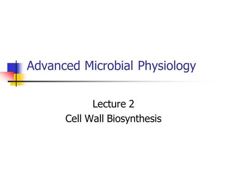 Advanced Microbial Physiology Lecture 2 Cell Wall Biosynthesis.