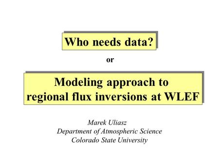 Modeling approach to regional flux inversions at WLEF Modeling approach to regional flux inversions at WLEF Marek Uliasz Department of Atmospheric Science.