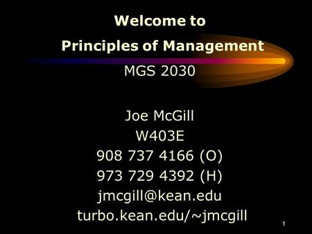 1 Welcome to Principles of Management MGS 2030 Joe McGill W403E 908 737 4166 (O) 973 729 4392 (H) turbo.kean.edu/~jmcgill.