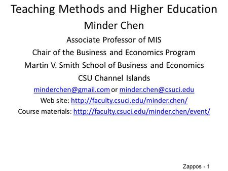 Teaching Methods and Higher Education