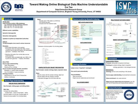 Toward Making Online Biological Data Machine Understandable Cui Tao Data Extraction Research Group Department of Computer Science, Brigham Young University,