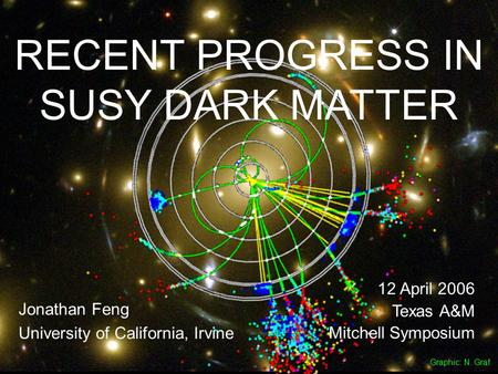 12 Apr 06Feng 1 RECENT PROGRESS IN SUSY DARK MATTER Jonathan Feng University of California, Irvine 12 April 2006 Texas A&M Mitchell Symposium Graphic: