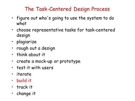 The Task-Centered Design Process figure out who's going to use the system to do what choose representative tasks for task-centered design plagiarize rough.