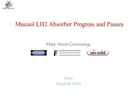 Mucool LH2 Absorber Progress and Pauses Mary Anne Cummings FNAL August 12, 2002.
