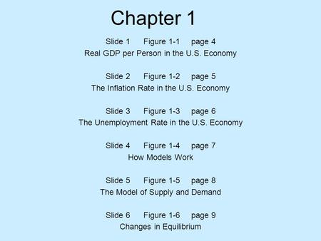 Chapter 1 Slide 1 Figure 1-1 page 4 Real GDP per Person in the U.S. Economy Slide 2 Figure 1-2 page 5 The Inflation Rate in the U.S. Economy Slide 3 Figure.