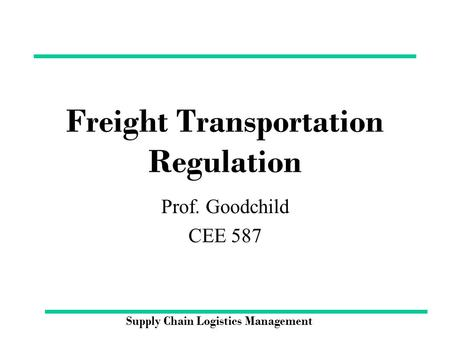 Freight Transportation Regulation