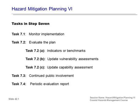 Hazard Mitigation Planning VI Session Name: Hazard Mitigation Planning VI Coastal Hazards Management Course Task 7.1: Monitor implementation Task 7.2: