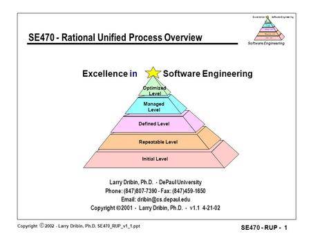 Copyright  2002 - Larry Dribin, Ph.D. SE470_RUP_v1_1.ppt Software Engineering SE470 - RUP - 1 Excellence in Software Engineering Repeatable Level Defined.