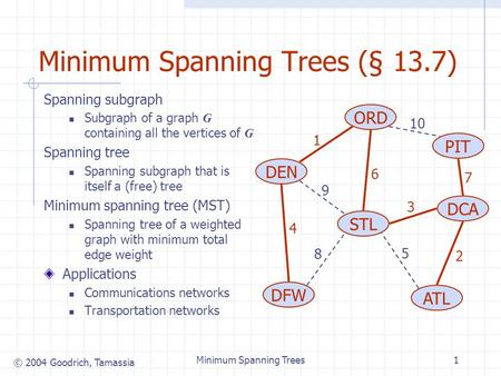 © 2004 Goodrich, Tamassia Minimum Spanning Trees1 Minimum Spanning Trees (§ 13.7) Spanning subgraph Subgraph of a graph G containing all the vertices of.