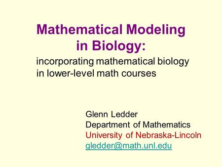 Mathematical Modeling in Biology: