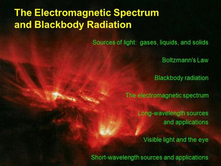 The Electromagnetic Spectrum and Blackbody Radiation Sources of light: gases, liquids, and solids Boltzmann's Law Blackbody radiation The electromagnetic.