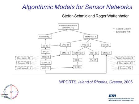 Algorithmic Models for Sensor Networks Stefan Schmid and Roger Wattenhofer WPDRTS, Island of Rhodes, Greece, 2006.