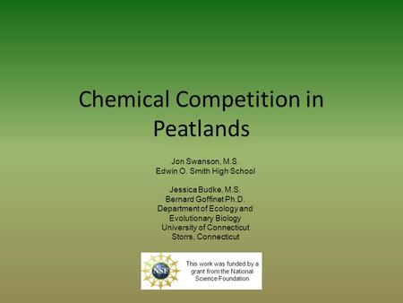Chemical Competition in Peatlands