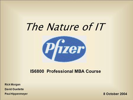 The Nature of IT IS6800 Professional MBA Course Rick Morgan David Ouellette Paul Hippenmeyer 8 October 2004.