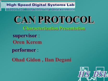 CAN PROTOCOL Characterization Presentation