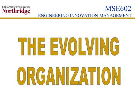 MSE602 ENGINEERING INNOVATION MANAGEMENT. THE EVOLVING ORGANIZATION  DEVELOPMENT TASKS OF THE EVOLVING ORGANIZATION  CLASSIC DILEMAS OF RAPID GROWTH.