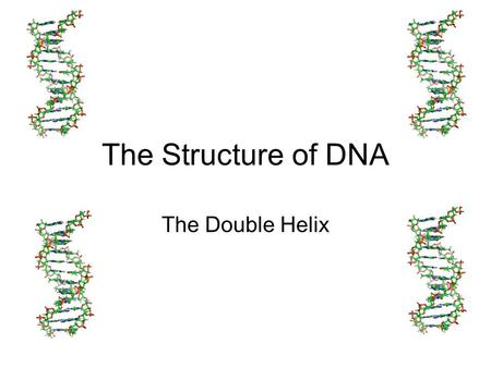 The Structure of DNA The Double Helix. DNA = Deoxyribonucleic acid DNA is made up of small sub units called Nucleotides A Nucleotide Has 3 major parts.