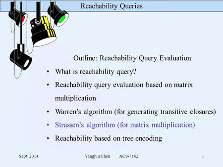 Reachability Queries Sept. 2014Yangjun Chen ACS-71021 Outline: Reachability Query Evaluation What is reachability query? Reachability query evaluation.