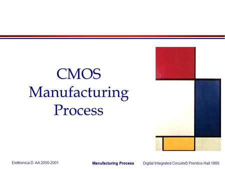 Elettronica D. AA 2000-2001 Digital Integrated Circuits© Prentice Hall 1995 Manufacturing Process CMOS Manufacturing Process.