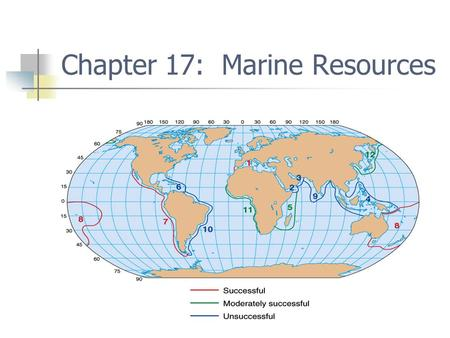Chapter 17: Marine Resources. Laws and regulation Mare Liberum Territorial sea 1958 to 1982 UN Law of the Sea Ratified in 1993 International law.